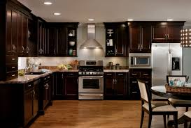 dark wood kitchen cabinets. Contemporary Dark Light Wood Kitchen Cabinets With Dark Floors For D