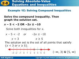 holt algebra 2 2 8 solving absolute value equations and inequalities example 1c