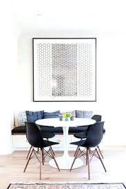 ikea round chair minimal dining nook with large art an round table and black chairs ikea