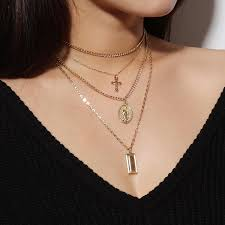 whole gold bar madonna necklace silver gold cross multilayer choker necklace pendants fashion jewelry for women will and sandy drop ship 380088 photo