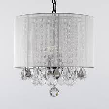 drum white shaded chandelier decor with hanging clear crystal ornaments magnificent ideas of chandeliers in