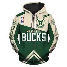 Milwaukee Bucks Hoodie 3d Basketball Zipper Sweatshirt