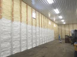 spray foam insulation being painted white