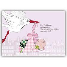 Süße Baby Mädchen Glückwunschkarte Zur Geburt In Rosa Mit Storch
