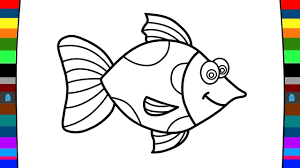 fish drawing for colouring. Fine Drawing How To Draw And Colour A Fish  Art Of Coloring For Kids To Drawing For Colouring
