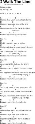Old Country Song Lyrics With Chords I Walk The Line