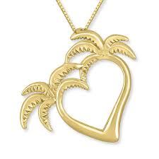 double palm tree heart pendant