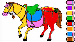 Horse Coloring Page Drawing For Kids Learn Colours Youtube