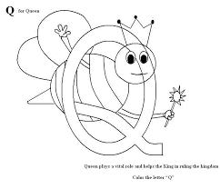 Small Picture Letter Q coloring printable page for kids