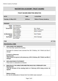 Meeting Minutes Waterton Academy Trust