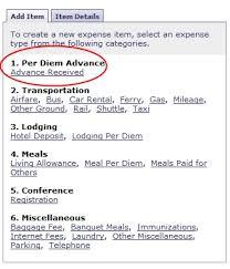 Reconciling Per Diem Advance Travel Services
