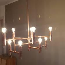 Midcentury Inspired Steampunk Industrial Copper Pipe Chandelier