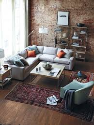 Image Rustic Rustic Modernindustrial Living Room Brick Wall Accent Shaped Grey Sofa Wood Coffee Table And Persian Rug Pinterest Design Guide How To Style Sectional Sofa Ideas Pinterest