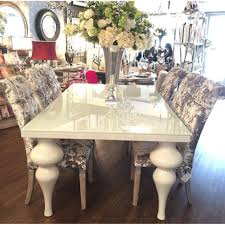 gorgeous gloss table with crushed velvet chairs glam dining