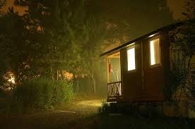 camping in the woods at night. Bungalow, Cabin, Camping, Night, Woods Camping In The At Night A
