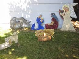 diy painted outdoor nativity set