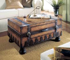 Furniture, Dark Brown Rectangle Wood Plus Metal Vintage Trunk Coffee Table  Ideas To Complete Your ...