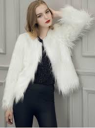fluffy faux fur coat white 3xl