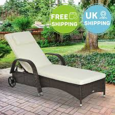 rattan sun lounger day bed patio recliner outdoor garden wicker furniture brown
