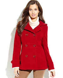 fresh lyst kenneth cole hooded double ted peacoat in red rj28