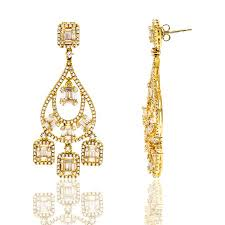 sterling silver with gold plating sparkling baguette cubic zirconia chandelier earrings