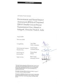 environment and social impact assessment for 220 kv power environment and social impact assessment for 220 kv power transmission line manali to nalagarh himachal pradesh
