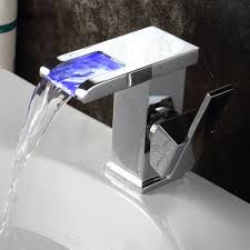 contemporary led waterfall bathroom faucet in chrome finish 519