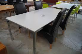 Esstisch Weiß Mdf L 200 X B 100 Bein Chrom 4 Stk Stühle