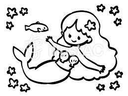 人魚と魚の塗り絵イラスト No 1189885無料イラストならイラストac