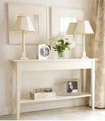 slim hall table. Luxury White Painted Oak Wood Console Table Which Slicked Up With Classic Lamps, Slim Hall D