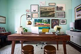 cube shelving unit home office midcentury with aqua dark wood desk framed artwork gallery wall vintage bedroom desk unit home