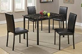 dining table with black marble finished top and 4 chairs by poundex