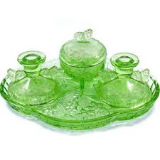 vintage sowerby erfly green depression glass dressing table set candlesticks