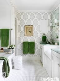 twelve chairs boston fun wallpaper in this bathroom love the green towels such a fresh look