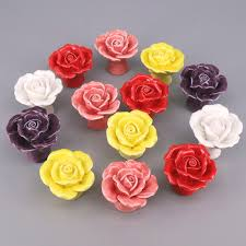 <b>2PCS</b> Ceramic <b>Rose</b> Kitchen Home Door Cupboard Pull Handle ...