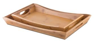 Citrus Heights 2 Piece Bamboo Serving Tray Set