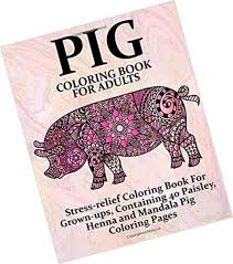 Farm Animal Coloring Bks Pig Coloring Book For Adults Stress