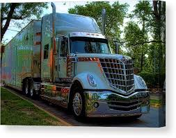 2009 International Lonestar Car Transport Semi Truck Canvas Print