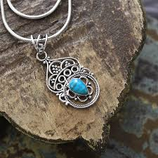 silver and turquoise stones indian pendant