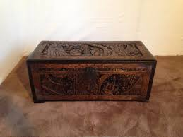 superb chinese carved wooden camphor trunk c1900