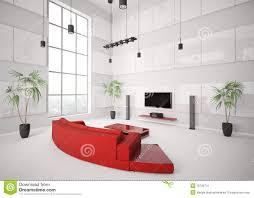 Witte Woonkamer Met Rode Bank Binnenlandse 3d Stock Illustratie