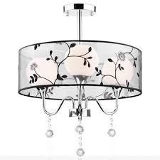 for foyer living room bedroom dinning room use modern vintage with fabric shade crystal chandeliers