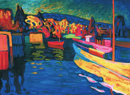 wassily kandinsky 1866 1944 autumn landscape with boats 1908 oil on