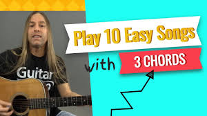 If you wanna learn easy rock and metal songs with distorted electric guitar sound click here →. Play 10 Easy Songs With Only 3 Guitar Chords Beginner Guitar Lessons Steve Stine Youtube