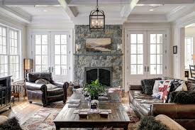 french coastal decor family room traditional with fuzzy pillows leather furniture