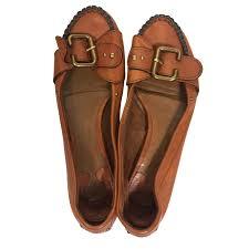 chloé flat loaffers ballet flats leather cognac ref 79013