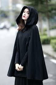wool coat with hood black hooded wool coat wool cloak cape cashmere women wool winter coat wool coat with hood