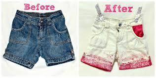 diy splatter painted denim shorts for big girls or little girls