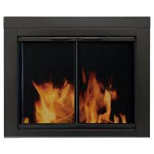 pleasant hearth alpine large glass fireplace doors an 1012 the home depot