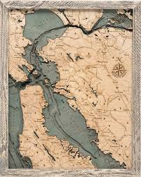 San Francisco Bay Area 3 D Nautical Wood Chart 16 X 20 Rustic Farm Frame